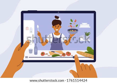 Culinary video broadcast, channel or blog with cooking online class. Young woman preparing healthy food in kitchen. Hand holding digital tablet with smiling girl blogger on screen. Vector illustration #1761514424