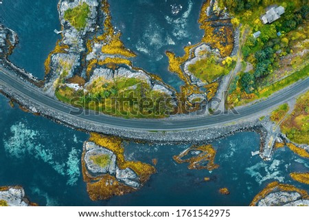 Aerial view Atlantic ocean road in Norway travel roadtrip drone scenery from above beautiful scandinavian landmarks destinations top down Royalty-Free Stock Photo #1761542975