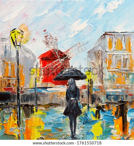 oil painting, woman with an umbrella, walk in Paris, artwork on canvas Royalty-Free Stock Photo #1761550718