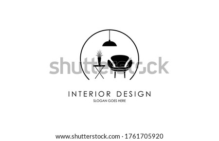 Interior room, furniture gallery logo design Royalty-Free Stock Photo #1761705920