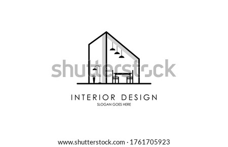 Interior room, furniture gallery logo design Royalty-Free Stock Photo #1761705923