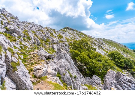 Mount Aizkorri 1523 meters, the highest in Guipúzcoa. Basque Country. Ascent through San Adrián and return through the Oltza fields. Difficult climb to the top of Mount Aizkorri #1761746432