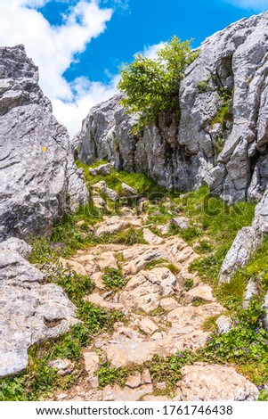 Mount Aizkorri 1523 meters, the highest in Guipúzcoa. Basque Country. Ascent through San Adrián and return through the Oltza fields. Climbing trail to the top of Mount Aizkorri #1761746438
