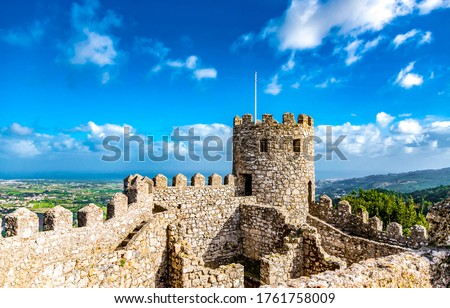 Ancient fortress ruins view. Medieval fortress ruins Royalty-Free Stock Photo #1761758009