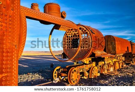 Rusty railway train view.. Rusty train. Railway train in rust #1761758012