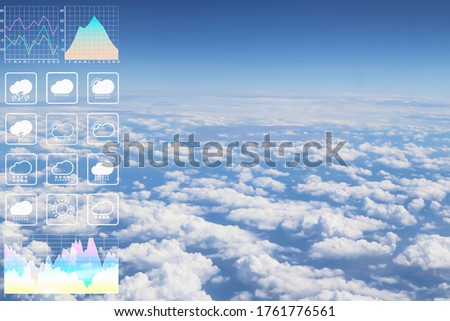 Dramatic atmosphere panorama image of buautiful cloudscape aerial view form aircraft with graph and chart presentation for meteorology forcast background. Royalty-Free Stock Photo #1761776561