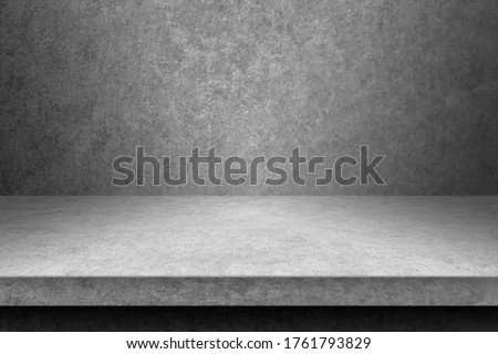 perspective of polished concrete or cement floor shelf table for interior and display show products. studio room gradient background