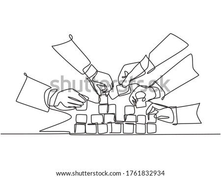 Single continuous line drawing of business team member arrange wooden cube block become sturdy tower together to improve team building. Teamwork concept one line draw design vector illustration Royalty-Free Stock Photo #1761832934