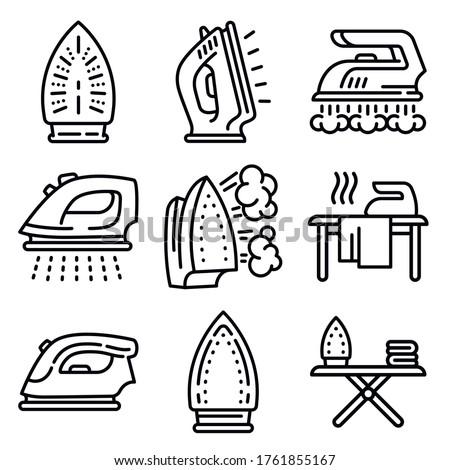 Smoothing-iron icons set. Isometric set of smoothing-iron vector icons for web design isolated on white background #1761855167