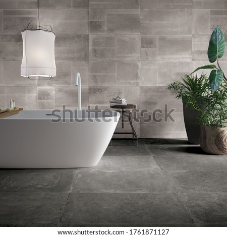 Modern bathroom with grey tiles, seamless, luxurious interior background. #1761871127