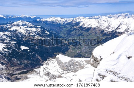 Picture of beautiful moutain scenery, seeing from cable car: Glacier 3000, Switzerland
