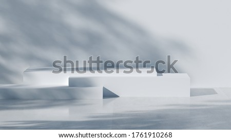 minimal abstract geometric podium scene 3d rendering with white concrete wall and tree shadow for presentation product #1761910268