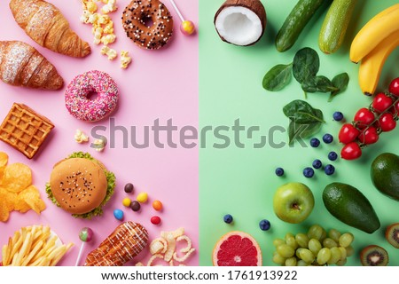 Healthy and unhealthy food background from fruits and vegetables vs fast food, sweets and pastry top view. Diet and detox against calorie and overweight lifestyle concept. #1761913922