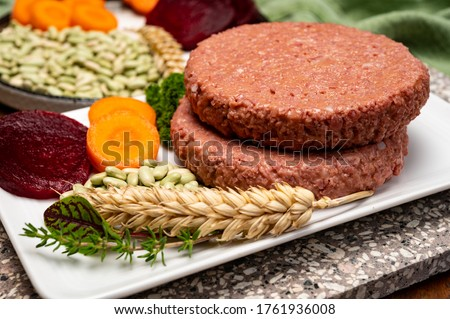 Source of fibre plant based vegan soya protein burgers, meat free healthy food close up Royalty-Free Stock Photo #1761936008