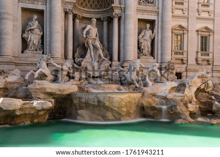 The Trevi Fountain (Italian: Fontana di Trevi) is a fountain completed in 1762 and located in the Trevi district in Rome, Italy #1761943211