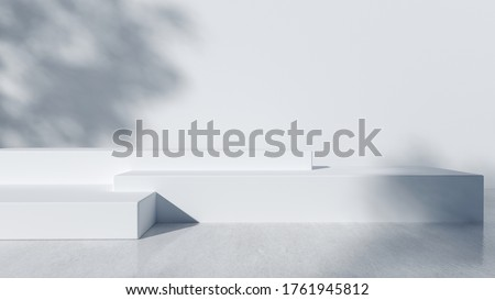 Step Podium for packaging presentation and cosmetic, shadow on wall. Product display with white concrete texture , stone texture, Natural beauty pedestal in sunlight. realistic rendering. Royalty-Free Stock Photo #1761945812