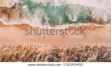 Drone view of Yeagarup Beach and the Warren River, Western Australia, wild southern ocean, river entrance, Australian coastline, rugged coast and crashing waves  Royalty-Free Stock Photo #1761959450