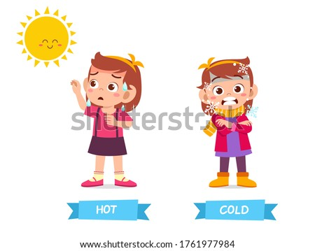 cute example of opposite word antonym for kid Royalty-Free Stock Photo #1761977984