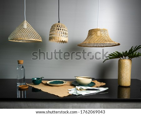 Bamboo Lampshade handicraft wicker from thailand bamboo light traditional designs #1762069043