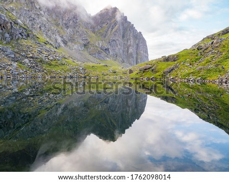 Lofoten, Norway - Aug, 2019; View from the trail to the Kvalvika Beach, Lofoten, Northern Norway. Northern Europe. Scandinavia. Summer time, August