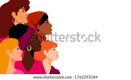 Multi-ethnic women. A group of beautiful women with different beauty, hair and skin color. The concept of women, femininity, diversity, independence and equality. Vector illustration. Royalty-Free Stock Photo #1762293584
