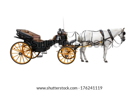 Horse and nice vintage coach with big yellow wheels. Isolated on white Royalty-Free Stock Photo #176241119
