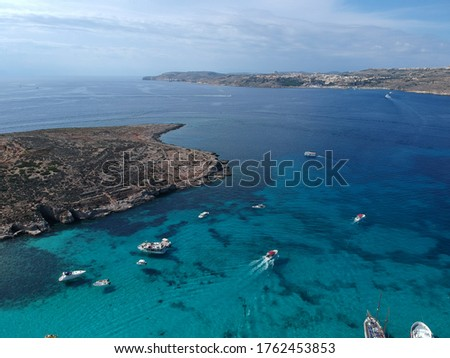 Aerial view of the Blue Lagoon in Comino. Malta