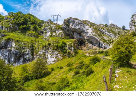 Ascent to the cave of San Adrian. Mount Aizkorri 1523 meters, the highest in Guipuzcoa. Basque Country. Ascent through San Adrian and return through the Oltza fields #1762507076