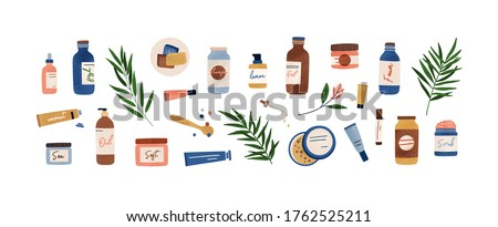 Set of colorful bottles, jars and tubes with organic cosmetics vector flat illustration. Collection of flowers, leaves and skincare products isolated on white. Natural eco friendly composition #1762525211