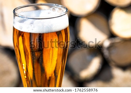 A full glass of fresh beer. Beer glass and timber. A GLASS WITH LIGHT BEER ON THE BACKGROUND OF wood in the countryside in the country. Beer glass and firewood. In the rays of sunlight. Close-up