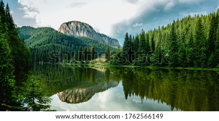 Summer scenery of mountain lake Lacul Rosu (Red Lake or Killer Lake). Popular travel destination and place for active rest and adventures in Eastern Carpathians. Harghita County, Romania Royalty-Free Stock Photo #1762566149