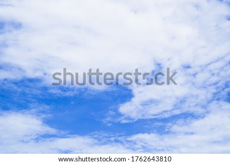 Blue sky and white cloud beautiful in summer. As beauty as heaven, It is the air in the climate or meteorology that has pure ozone oxygen. Good weather day background. Horizon picture with copy space.