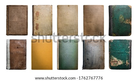 Old Vintage Antique Aged Rarity Book Cover Collection Set Isolated on White. Rough Damaged Shabby Scratched Wrinkled Paper Cardboard Texture. Front View.  Royalty-Free Stock Photo #1762767776