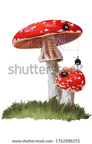 Cute baby spiders and red fly agarics. Clip art  on white background