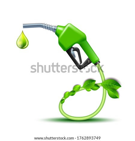 Green Fuel handle pump nozzle and hose with green leaves. Gas Gun with biofuel. Vector Illustration isolated on white background, environment conceptual design.