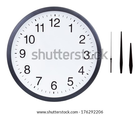 Blank clock face with hour, minute and second hands isolated on white background. Just set your own time  #176292206