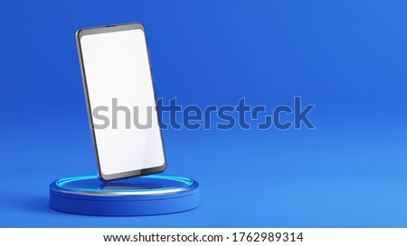 Mobile phone with a blank screen on podium. Mockup template of modern smartphone. 3d rendering #1762989314