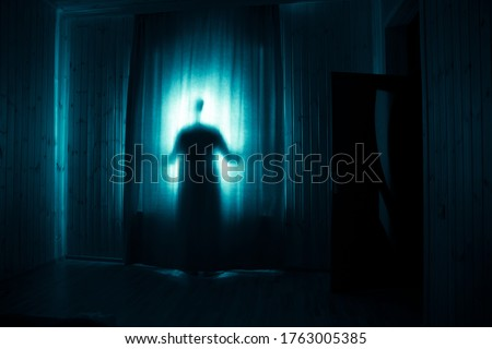 Horror silhouette in window with curtain inside bedroom at night. Horror scene. Halloween concept. Blurred silhouette of ghost Royalty-Free Stock Photo #1763005385