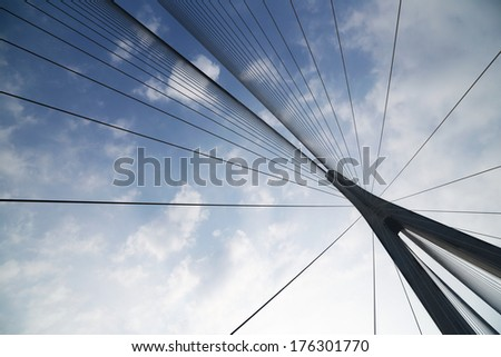 Cables and supports of bridge in china against blue sky #176301770