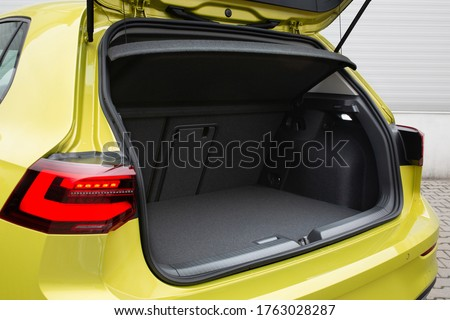 Modern hatchback car open trunk. Car boot is open #1763028287