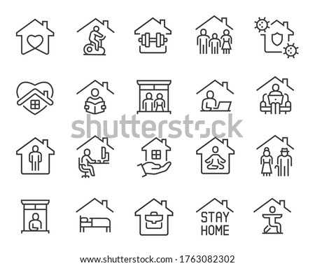 Stay Home Icons set. Collection of linear simple web icons such as Work from Home, Stay Home, Virus Protection, Isolation, Sports and Hobbies, Covid-19, CORONAVIRUS, Family at Home, Quarantine and #1763082302