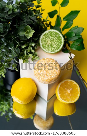 solid shampoo with the smell of limongrass lime lemon Royalty-Free Stock Photo #1763088605