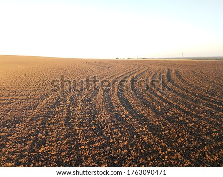 Morning spring photo of a plowed field and crop sowing. Brown soil merges with the horizon line in waves. Farm topics sowing crops, view of the open field in the countryside.