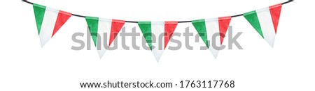 Water color illustration of bunting with red, green and white striped triangular flag. Hand painted watercolour graphic drawing, cutout clip art detail for creative design, card, print, poster, decor.