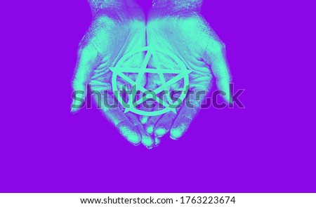 New age modern magic, occult symbol for ritual. Pentagram in open palm. Pop art style in neon bold colors. For posters, banners, wallpapers.