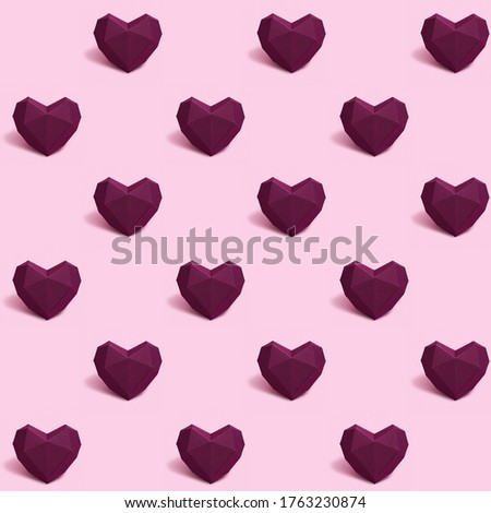 Seamless pattern with dark red or purple polygonal paper heart on pink background. Wallpaper for Valentines Day. Love concept. Bright colors. Minimal style.