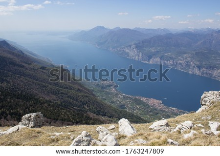 Stunning view from the top of Monte Baldo mountain to the mounta #1763247809