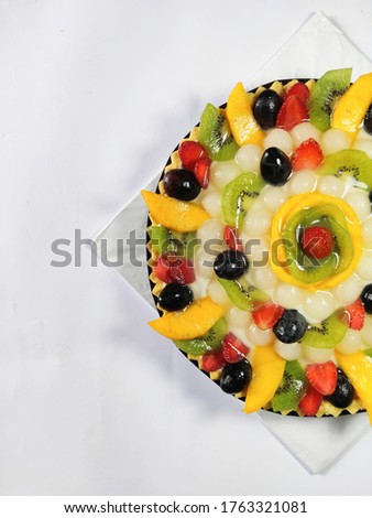 Half Picture of Pie Fruits Isolated on White Background