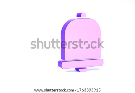 Purple Church bell icon isolated on white background. Alarm symbol, service bell, handbell sign, notification symbol. Minimalism concept. 3d illustration 3D render.