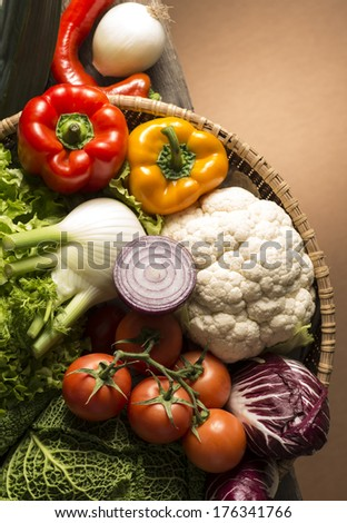 still life with vegetables isolated on brown background #176341766
